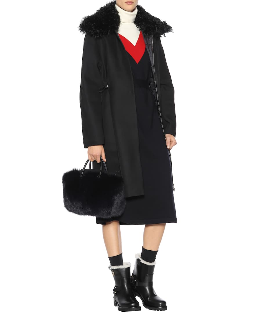Moncler Gamme Rouge Coat Stuart Wool And Silk