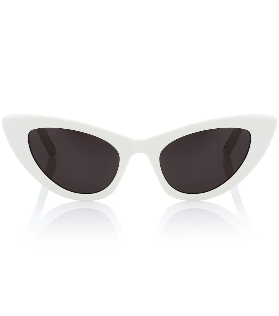 Lily Cat-Eye Acetate Sunglasses, Ivory in White