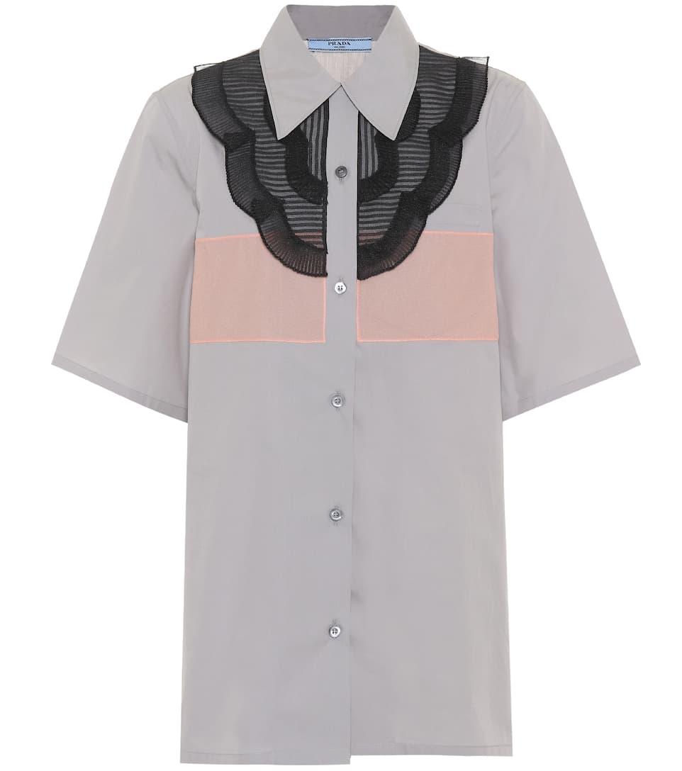 Prada Nero de Allumiin algodón Albicoc Camisa HvxHwU1qR