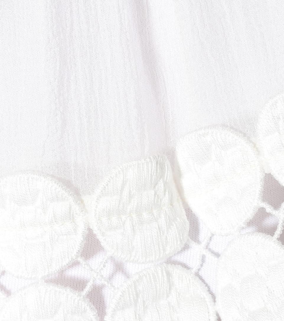 Chloé Oberteil aus Baumwolle mit Seidenbesatz