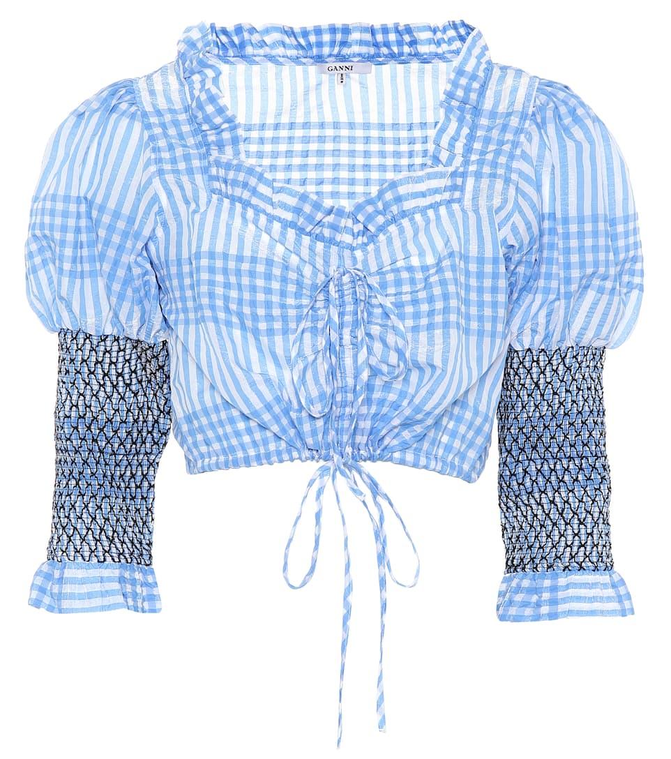 Ganni Cropped Bluse Charron mit Baumwollanteil