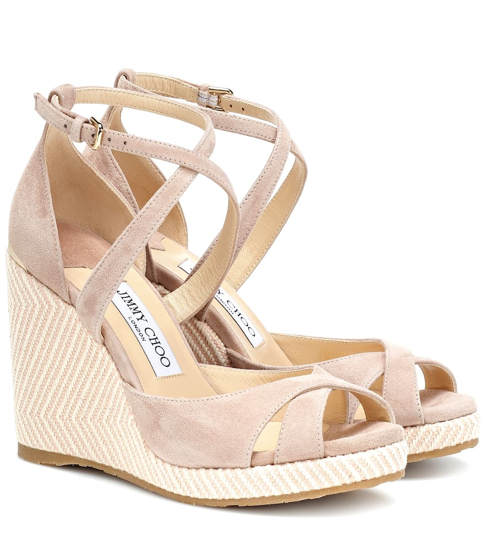 8880563a58f Shoptagr | Alanah 105 Suede Wedge Sandals by Jimmy Choo
