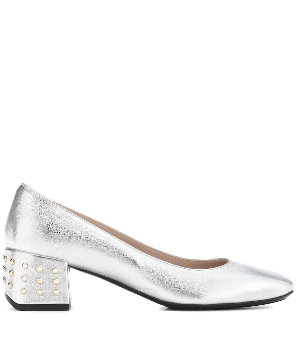 Tod's Leather pumps Argento/Silver Classic Cheap Online FDyew9oLa