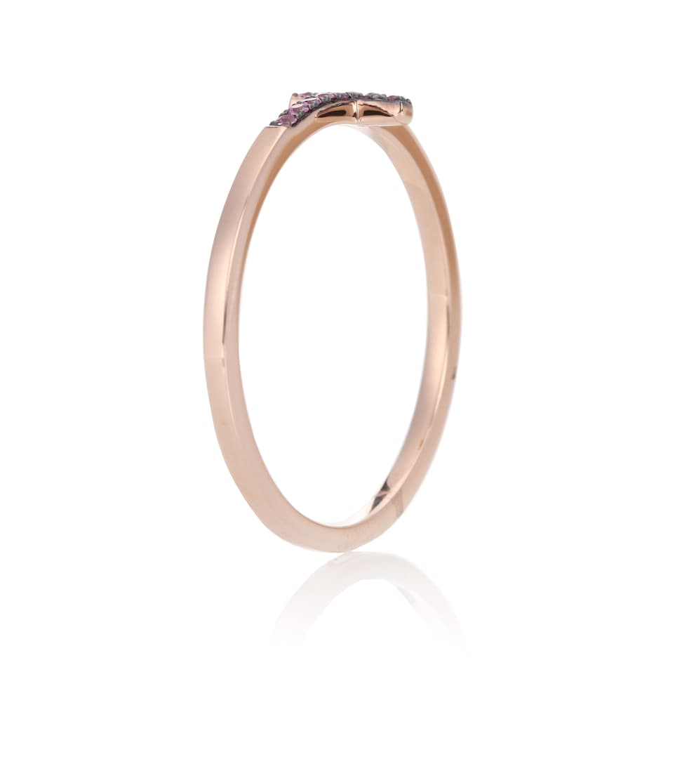 Sydney Evan Bent Cross 14kt rose gold ring with pink sapphires Pa1XdIcP