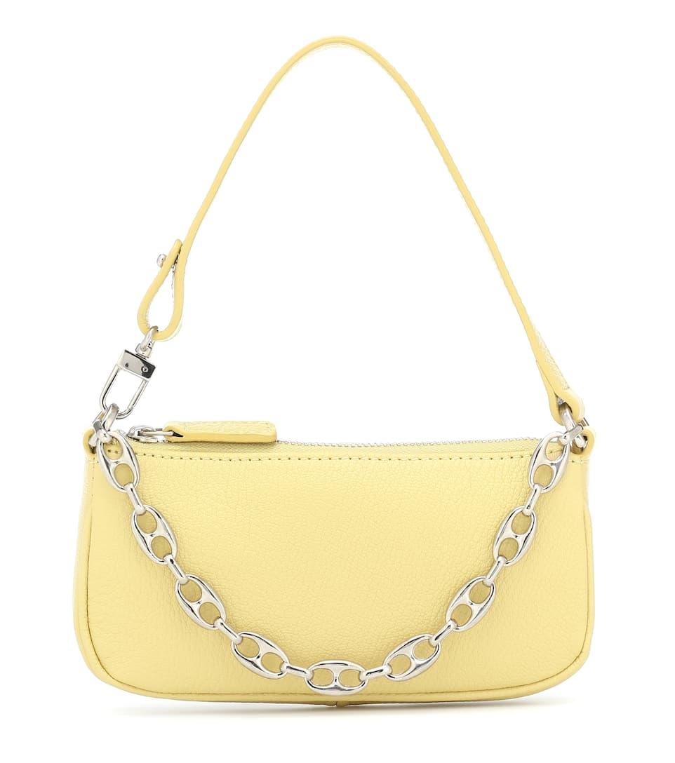 Rachel Mini leather shoulder bag in yellow