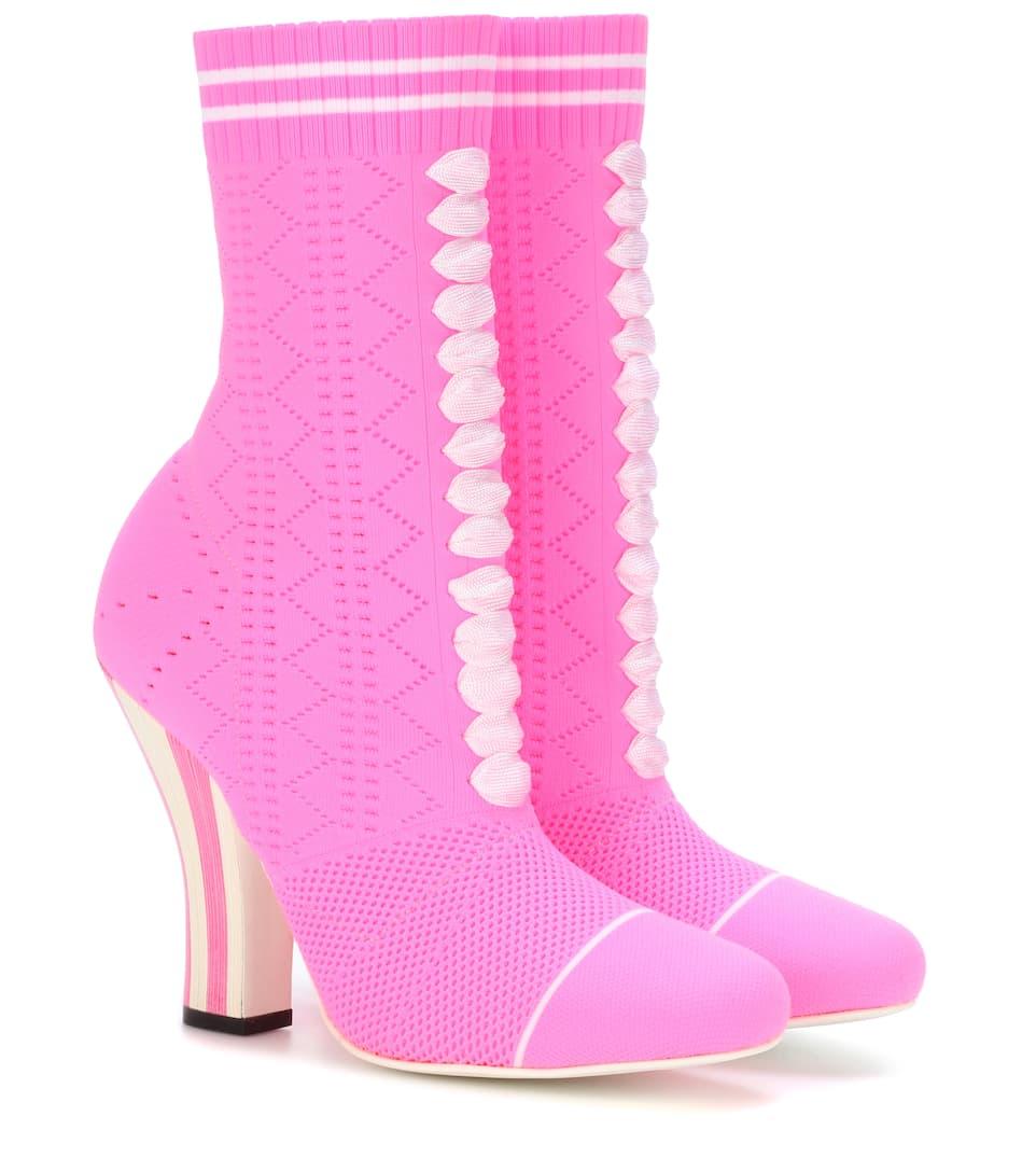 Stretch-Knit Ankle Boots - Fendi