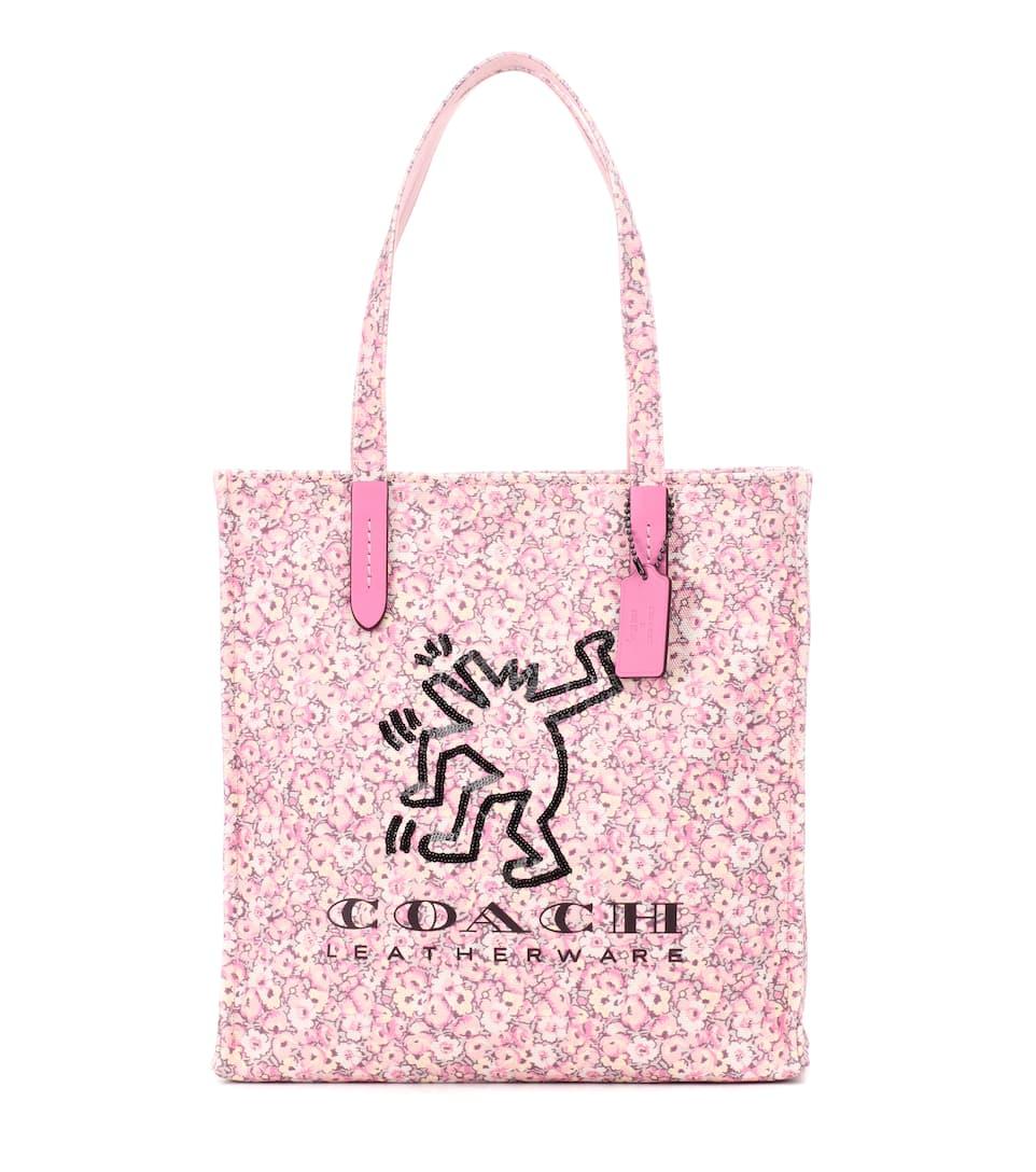 Cabas En Toile Imprimée À Sequins X Keith Haring