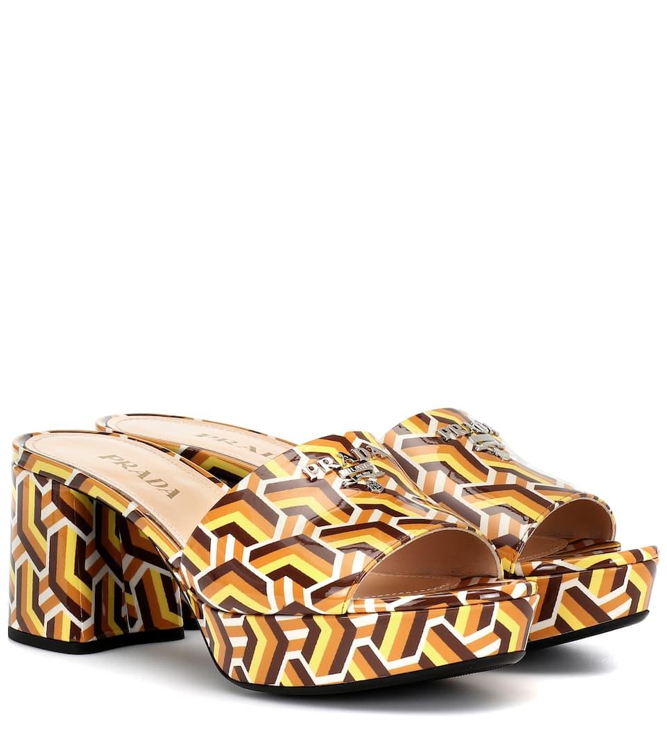 Printed Plateau Sandals Leather Leather Prada Printed Plateau eW9EDHIY2b