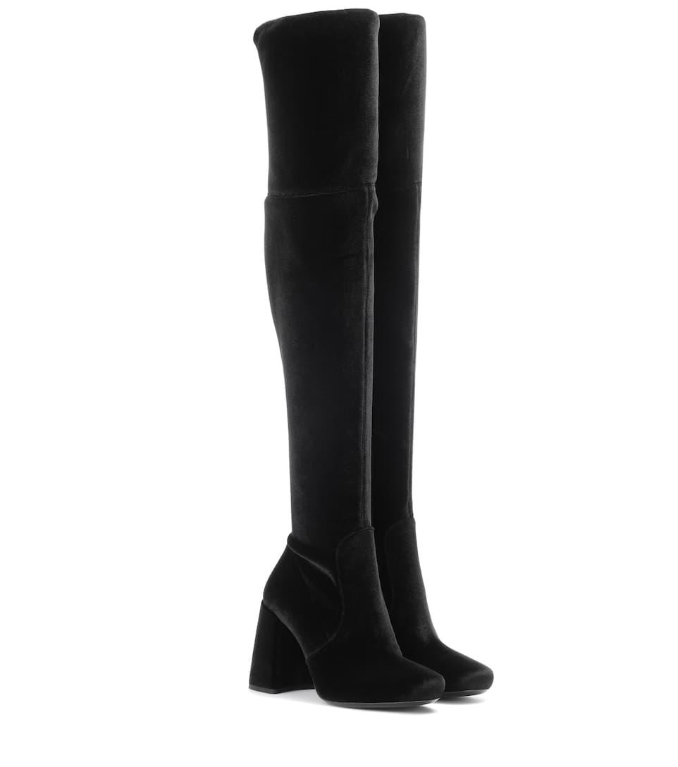 Prada Over-the-knee velvet boots KjukGx5m
