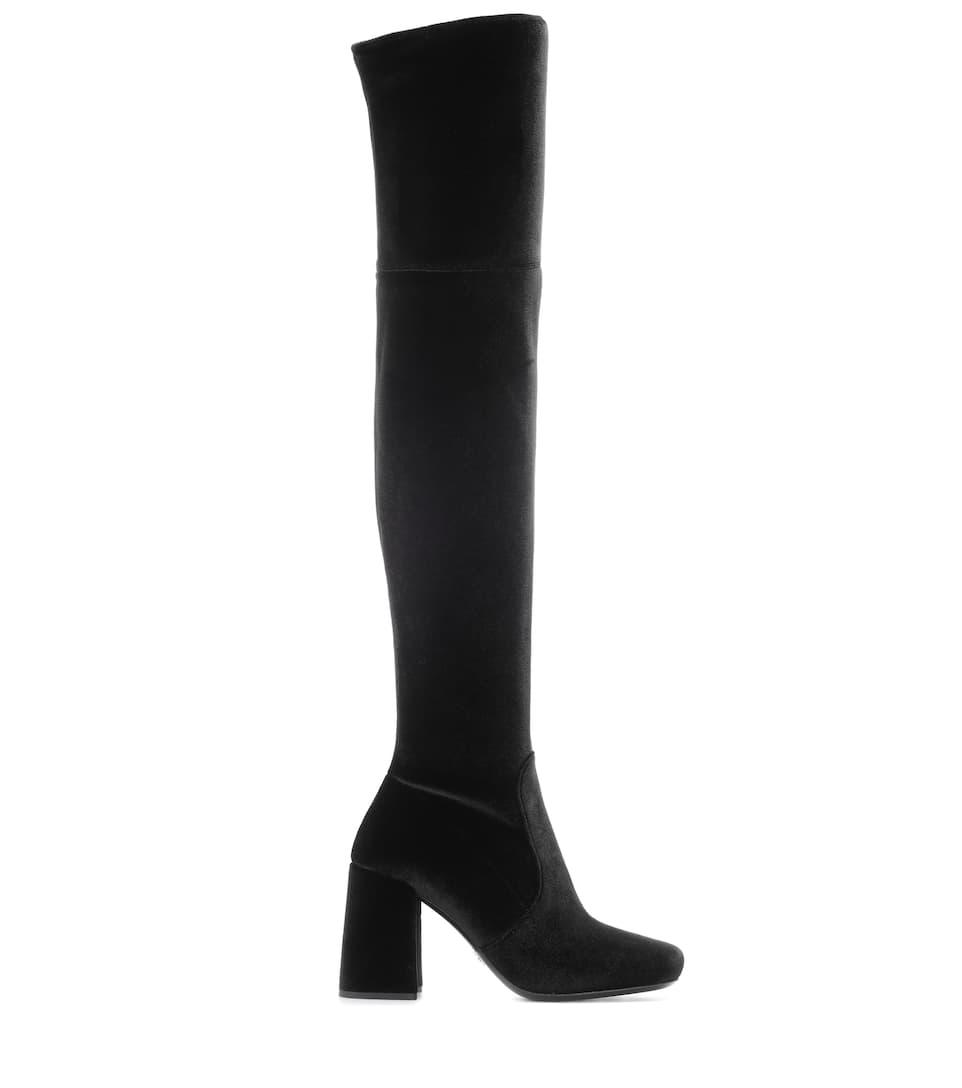 Prada Overknee-Stiefel aus Samt Erhalten Online Kaufen uCXQhKtBBe