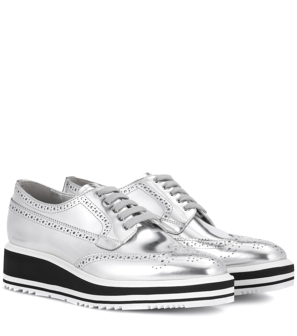 b82b0e27b48 Wingtip Leather Platform Brogues - Prada