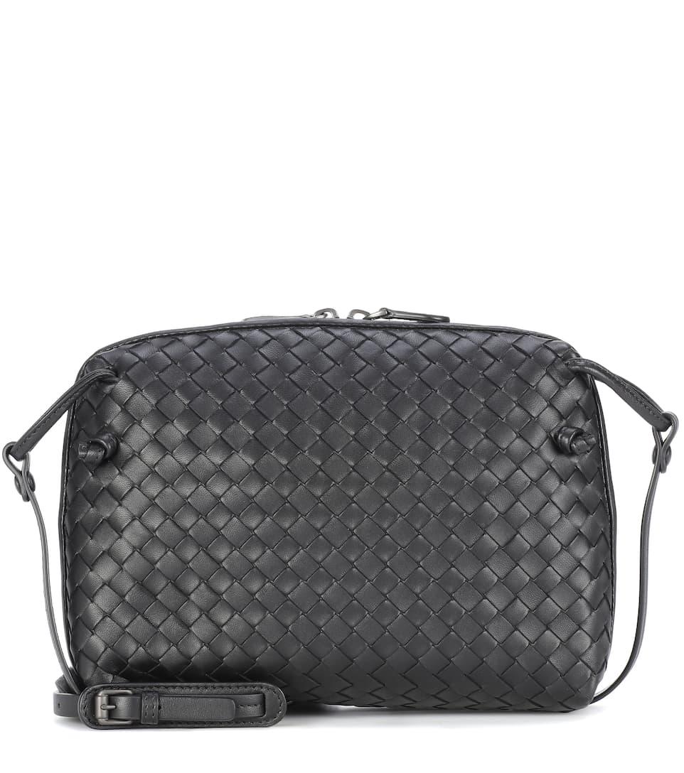 bc90b13c8d Bottega Veneta Nodini Small Intrecciato Leather Cross-Body Bag In Black