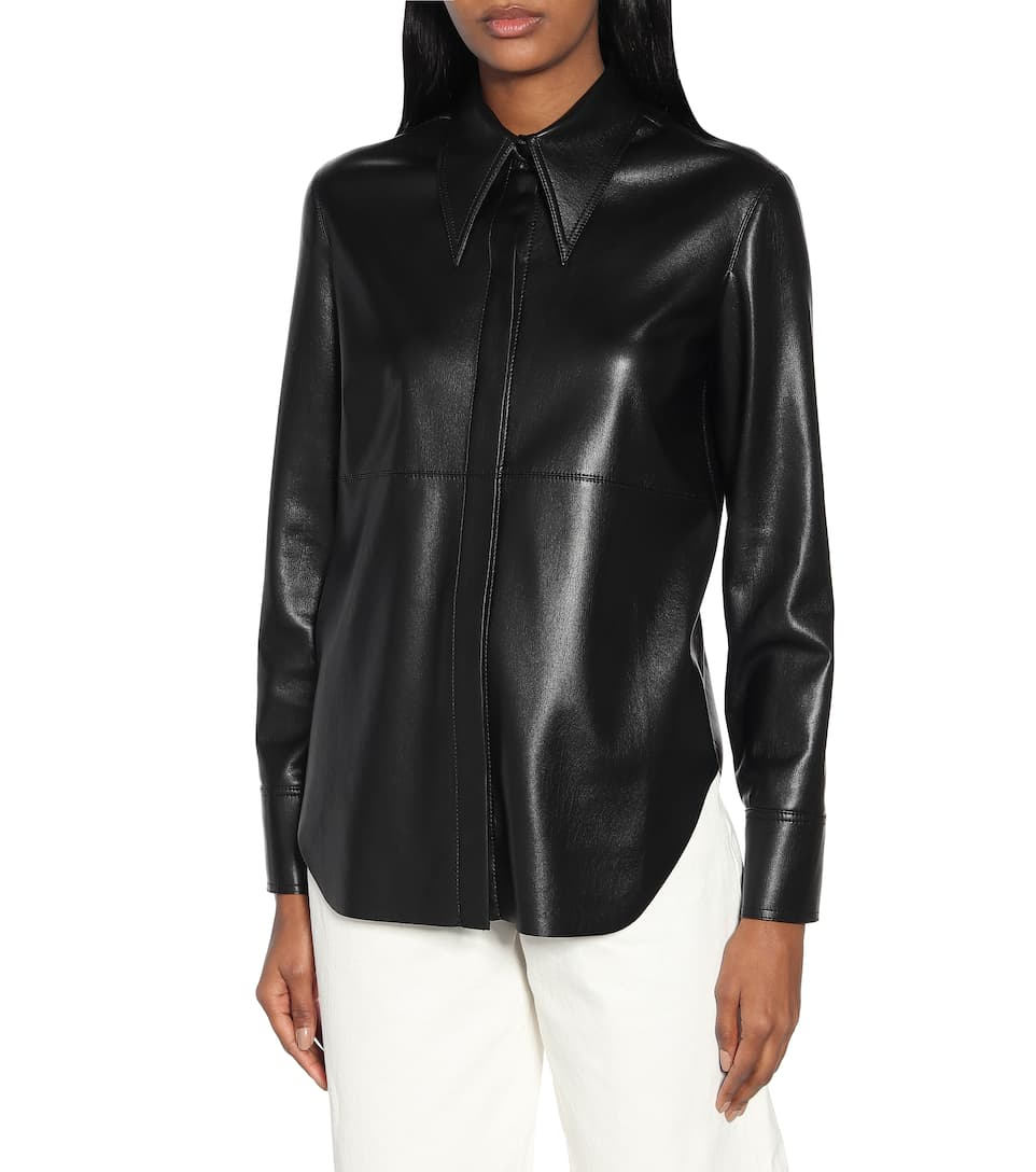 Nanushka - Faux-leather shirt