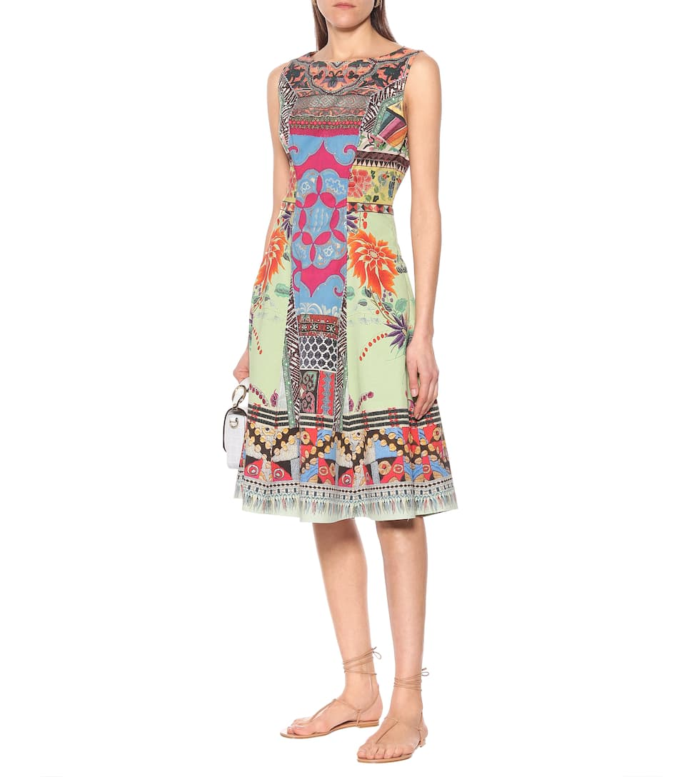 Etro - Printed stretch-cotton dress