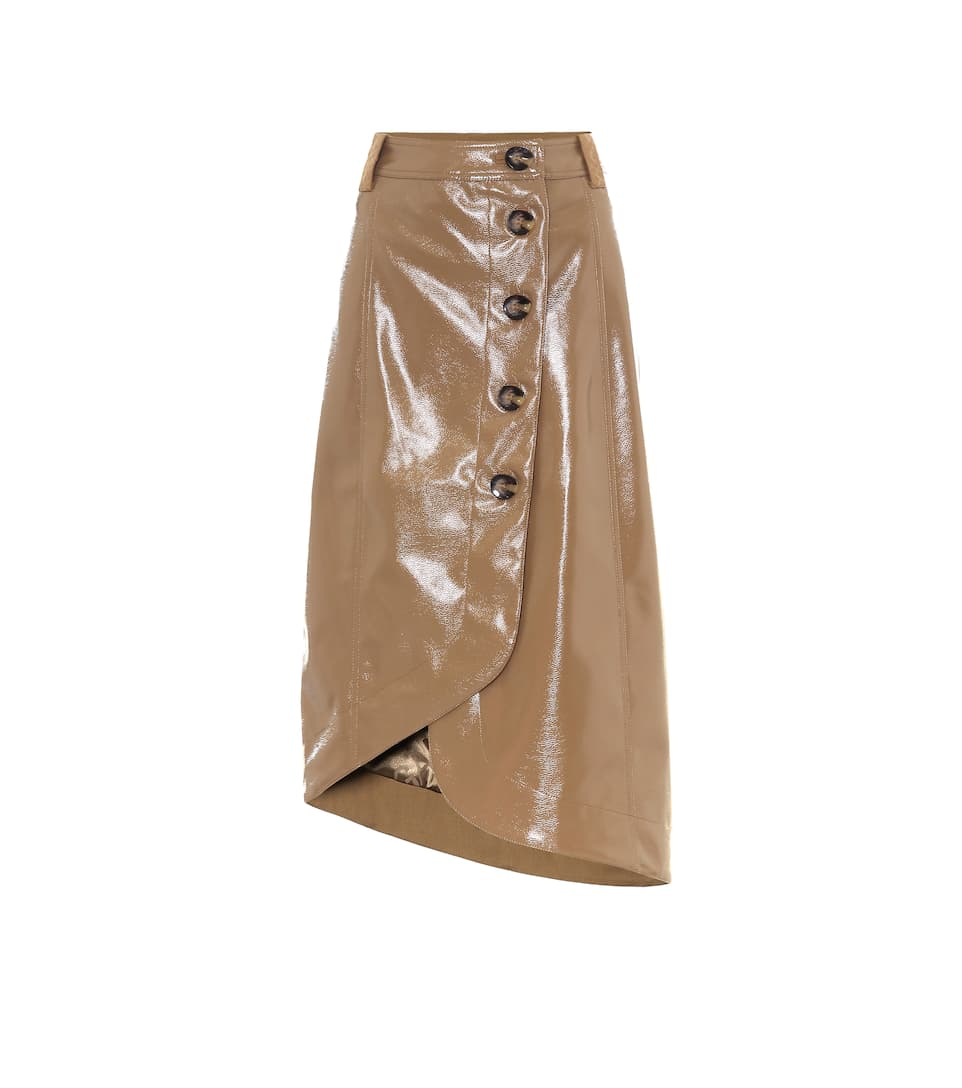 TAN FAUX LEATHER KNEE LENGTH MIDI SKIRT WITH POCKETS SIZE 6-18