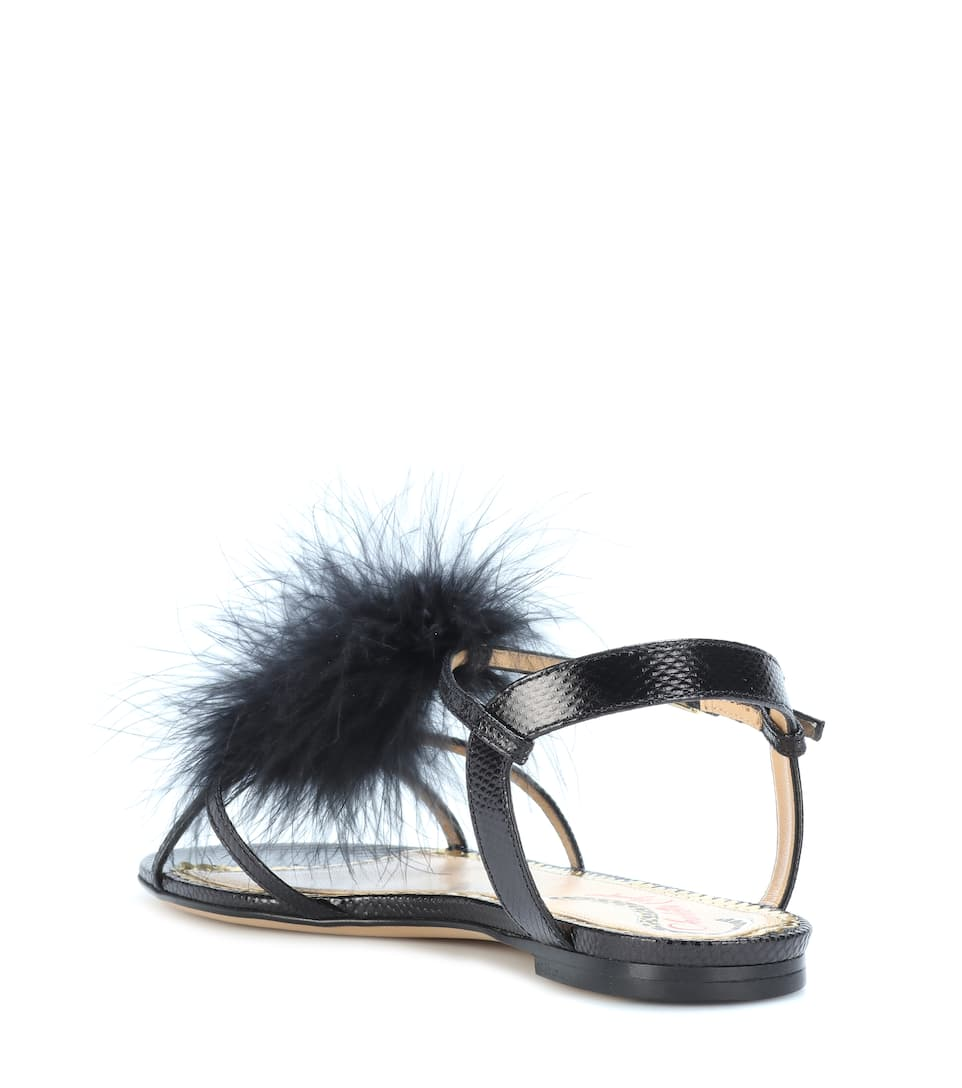 Charlotte Olympia Fifi feather-trimmed leather sandals free shipping 100% guaranteed free shipping sneakernews xMZjwBB5