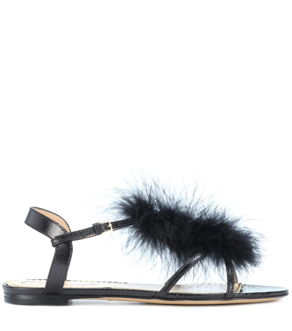 Charlotte Olympia Fifi feather-trimmed leather sandals wDeOF