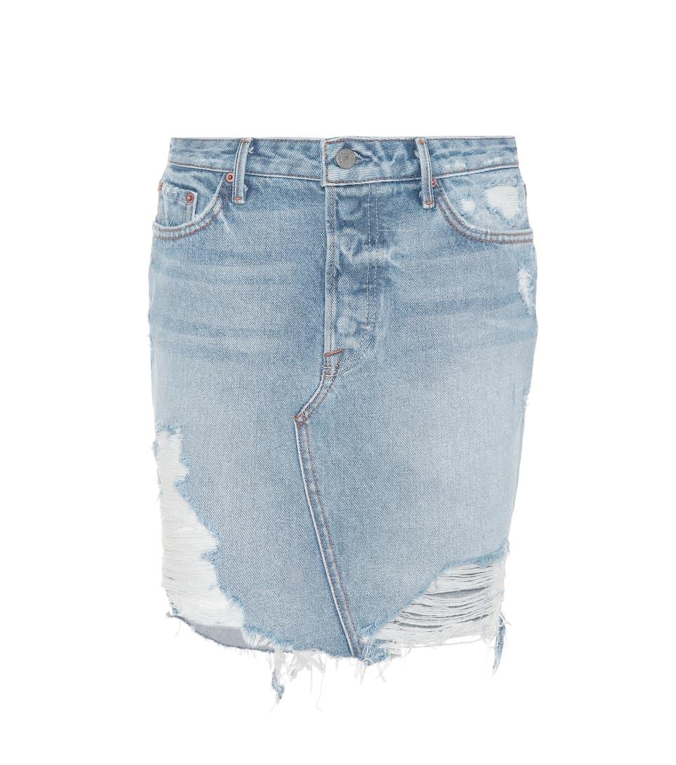 GRLFRND Rhoda Distressed Denim Mini Skirt in G685 Lava B