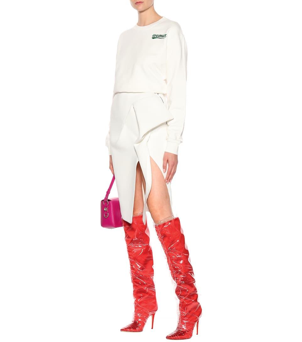 Jimmy Choo X Off-White Stiefel Elisabeth 100 aus Satin