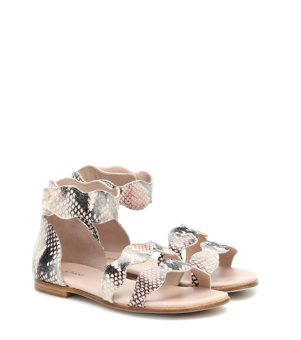 Snake effect leather sandals