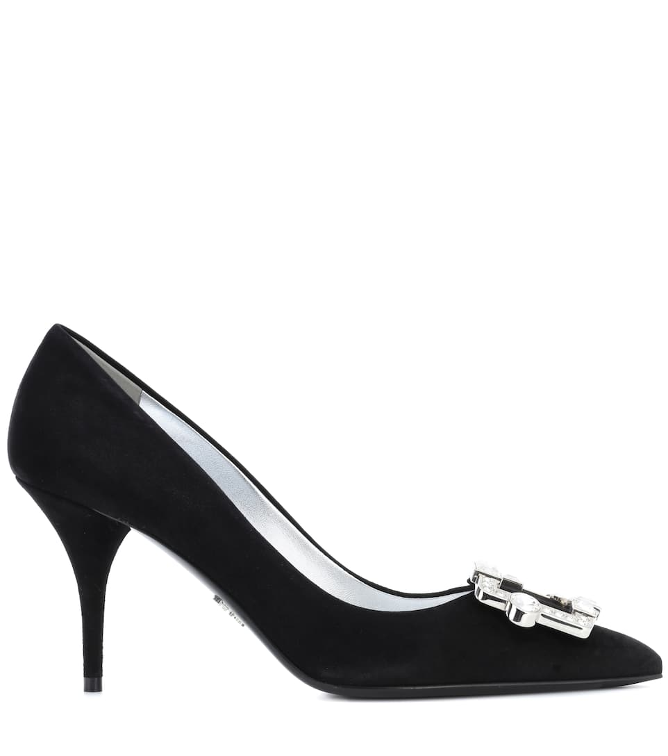 Prada Studded Pumps From Suede