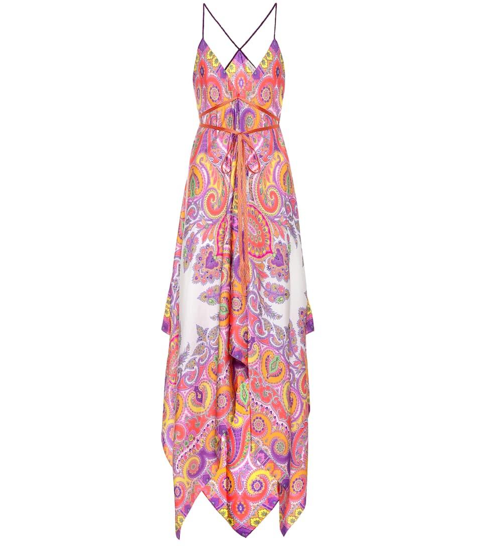 Etro Asymmetrisches Kleid aus Seide mit Print