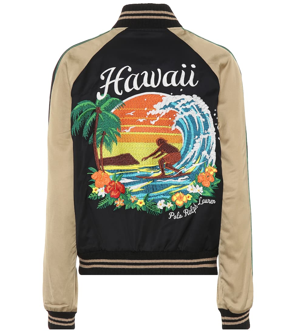 Polo Ralph Lauren Bomber Jacket In Satin Hawaii