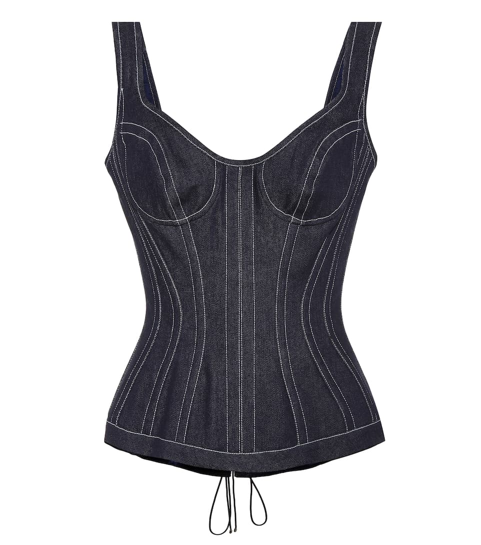 Mugler Denim bustier top Cosmos Classic For Sale Pay With Paypal Cheap Online Clearance Official Big Sale Cheap Online Discount 2018 cH1sRSKG1
