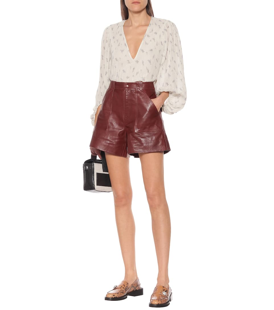 Ganni - High-rise leather shorts