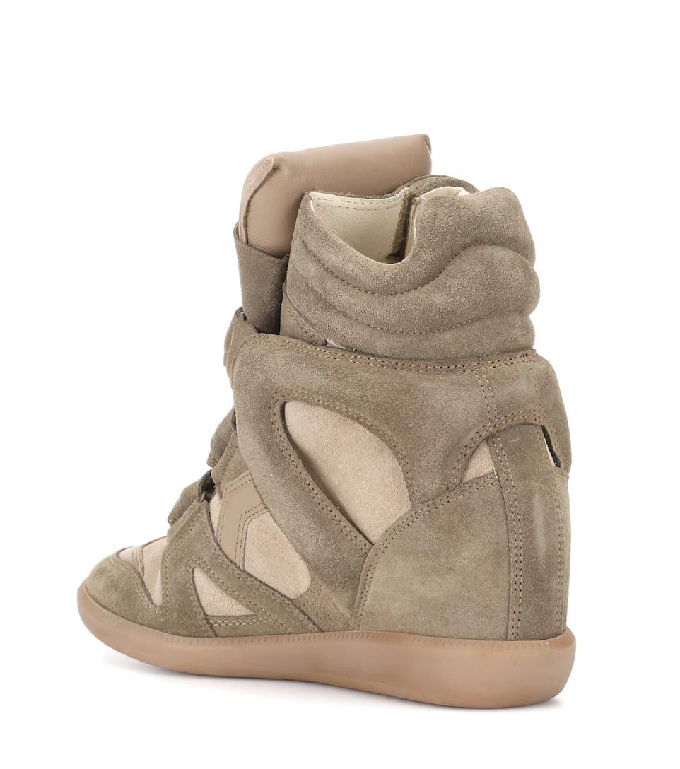 Isabel Marant Étoile Bekett Wedge-Sneakers aus Glatt- und Veloursleder