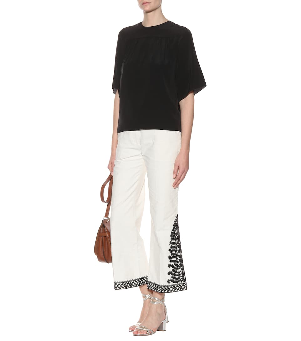 Online Shop Tory Burch Embroidered cotton trousers New Ivory Discount Classic XSsAzUJA4
