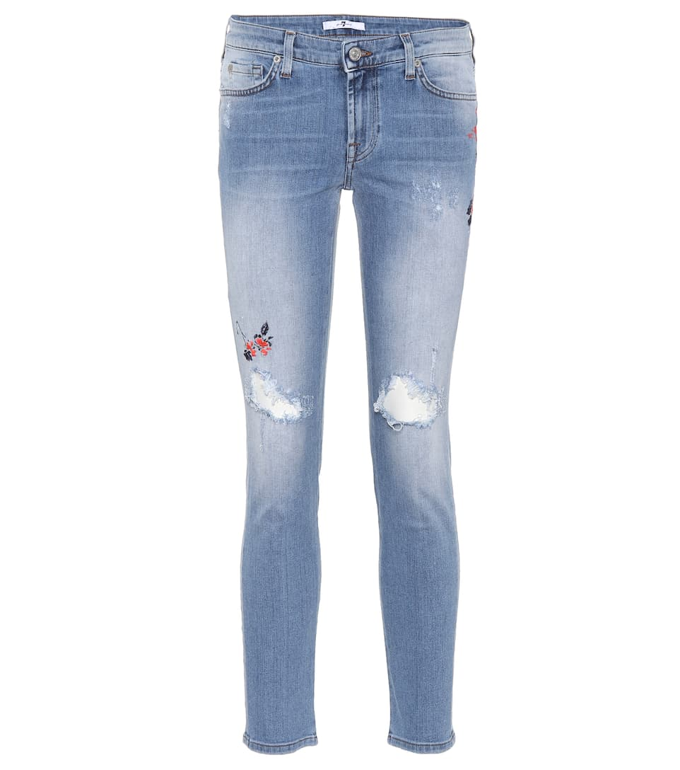 7 For All Mankind Bestickte Skinny Jeans