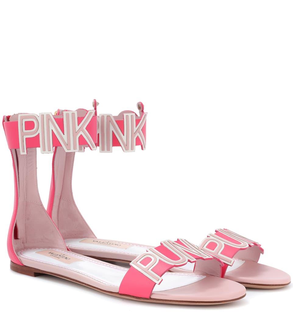 Les Prix De Vente À Bas Prix Valentino - Valentino Garavani - Sandales en cuir Pink is Punk Vente Pas Cher Prix Incroyable NbHxwcf