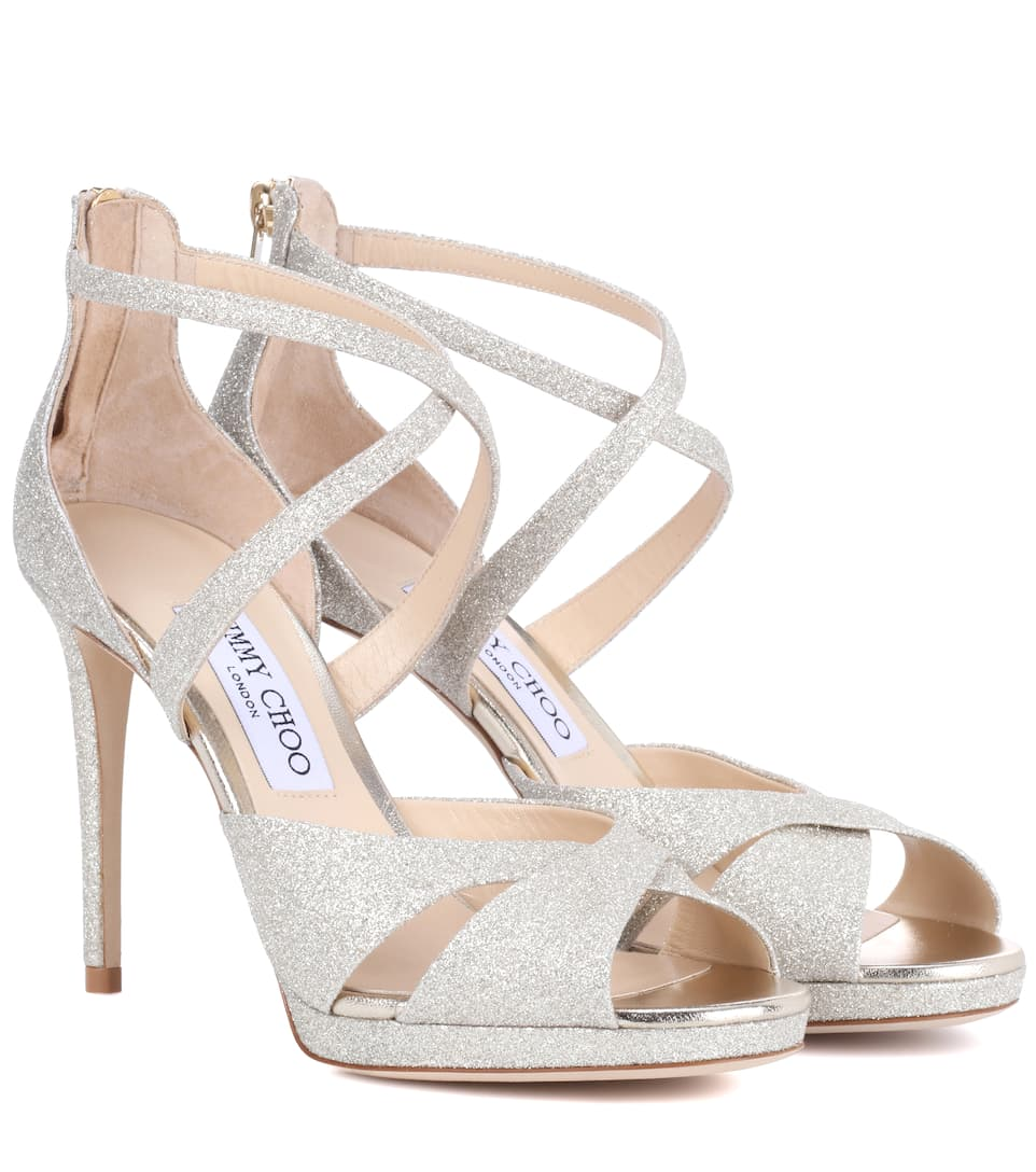 Jimmy Choo Lorina 100 Glitter-Leather And Satin Heeled Sandals In Gold