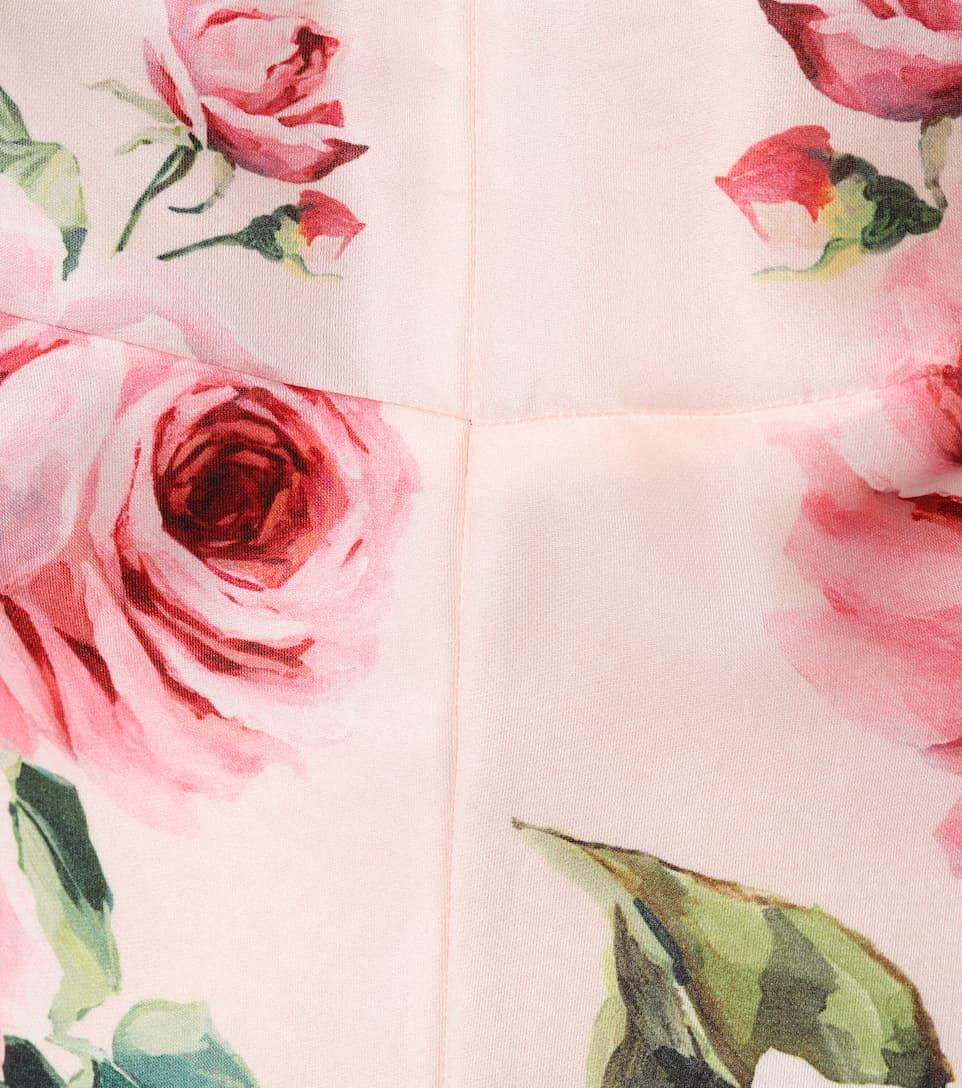 Dolce & Gabbana Midikleid aus bedrucktem Seidenorganza