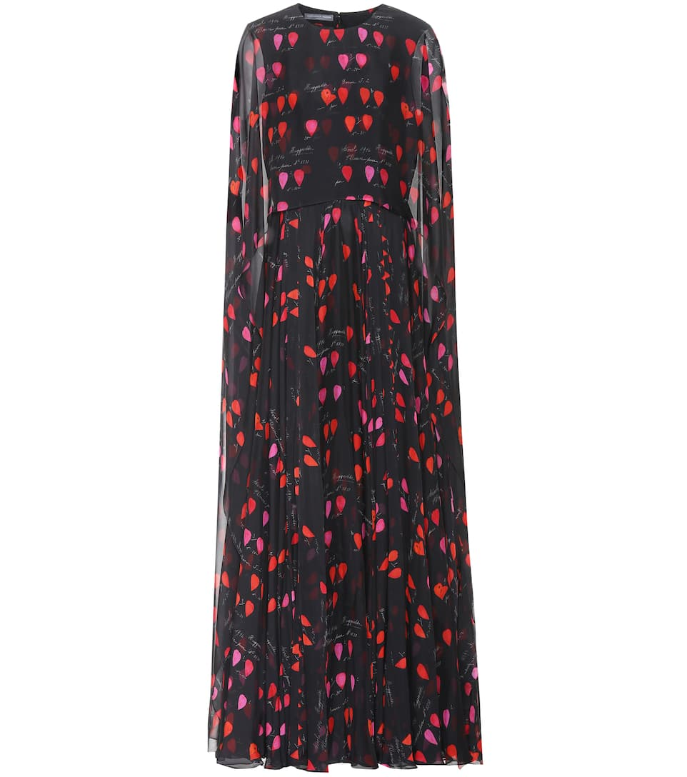 Amazing Price Cheap Price Low Price Fee Shipping Online Alexander McQueen Printed silk gown Black/Red/Pink Wide Range Of Cheap Price EPkeCx