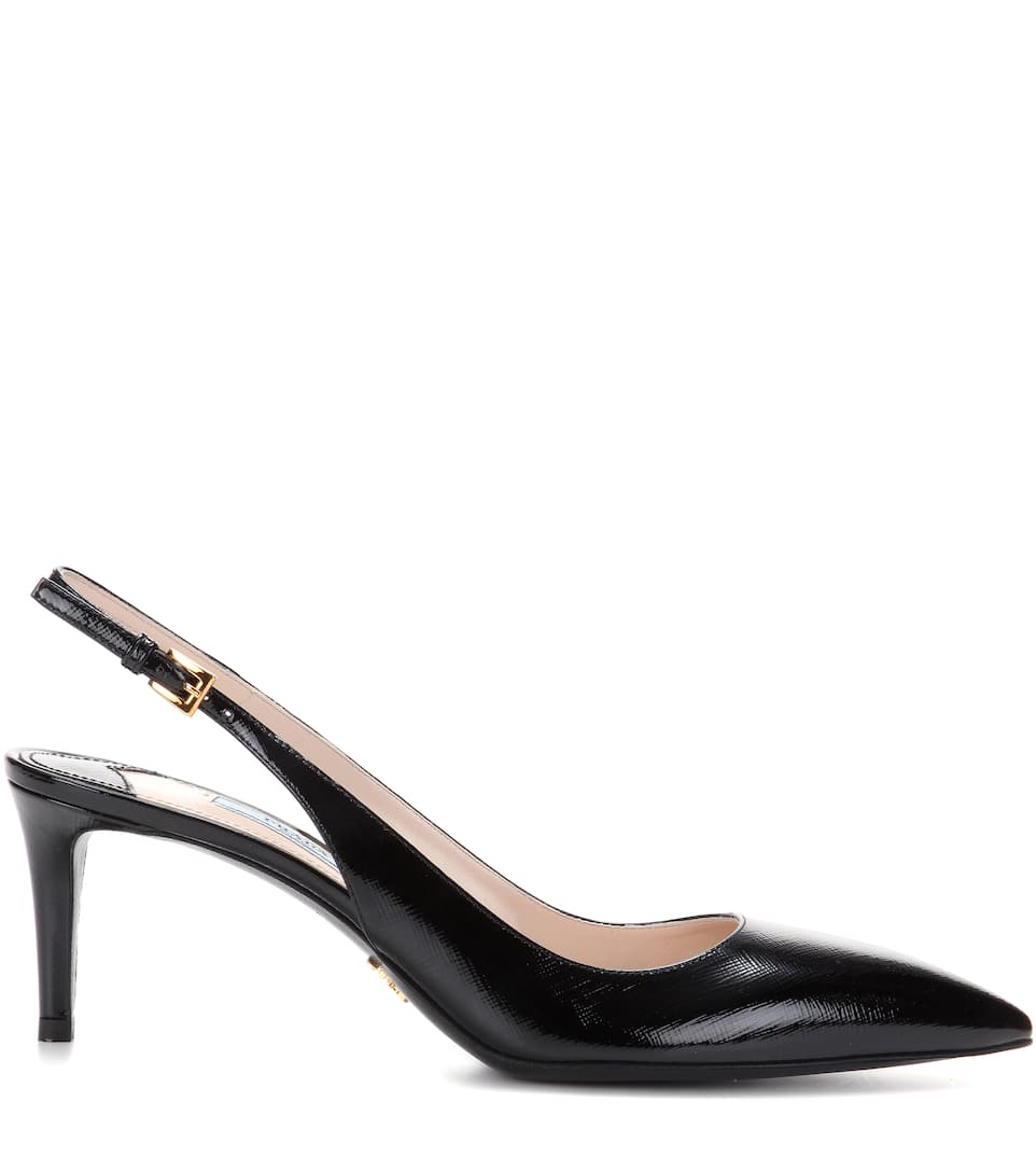 Prada Slingback-pumps Aus Leader