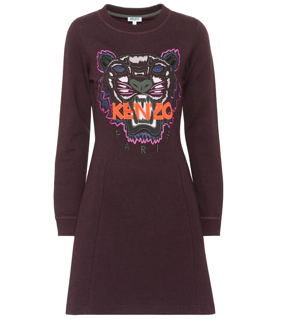 Kenzo Minikleid Fit and Flare Tiger aus Baumwolle