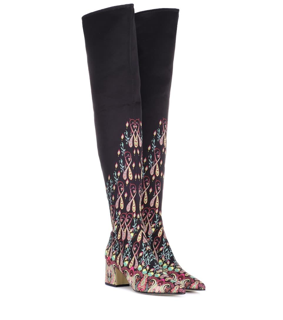 Etro Verzierte Overknee-Stiefel aus Satin