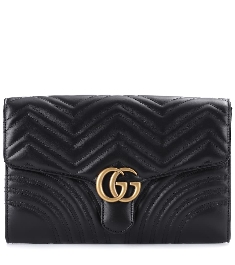 98d429d33b1 Gucci Gg Marmont Chevron Quilted Leather Flap Clutch Bag In 1000 ...