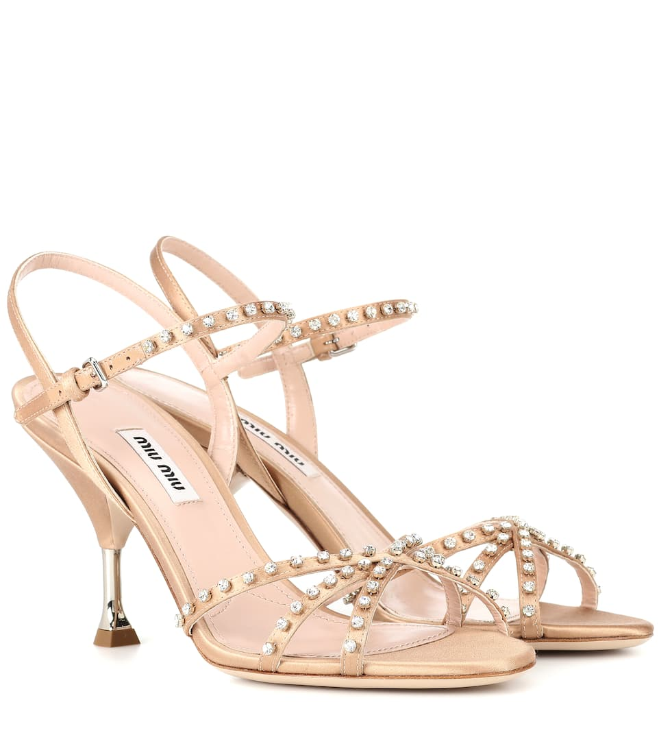 b4e7695b5a8 MIU MIU EMBELLISHED SATIN SANDALS
