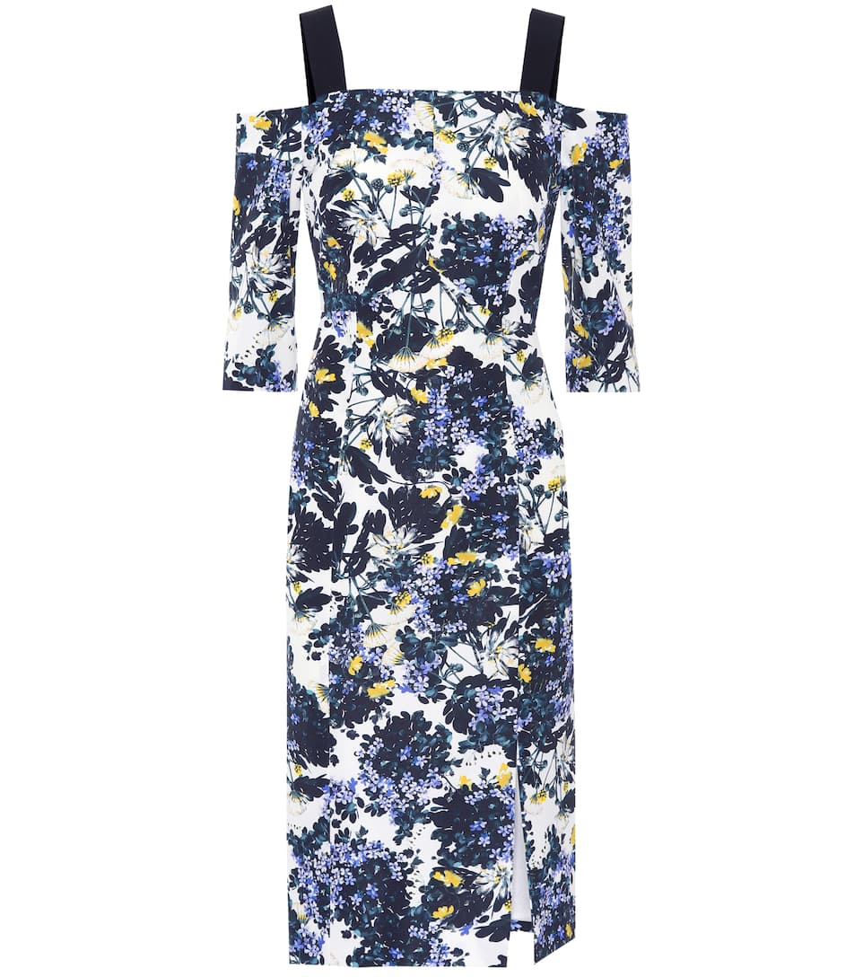 ERDEM Verena Floral-Print Open-Shoulder Dress in White