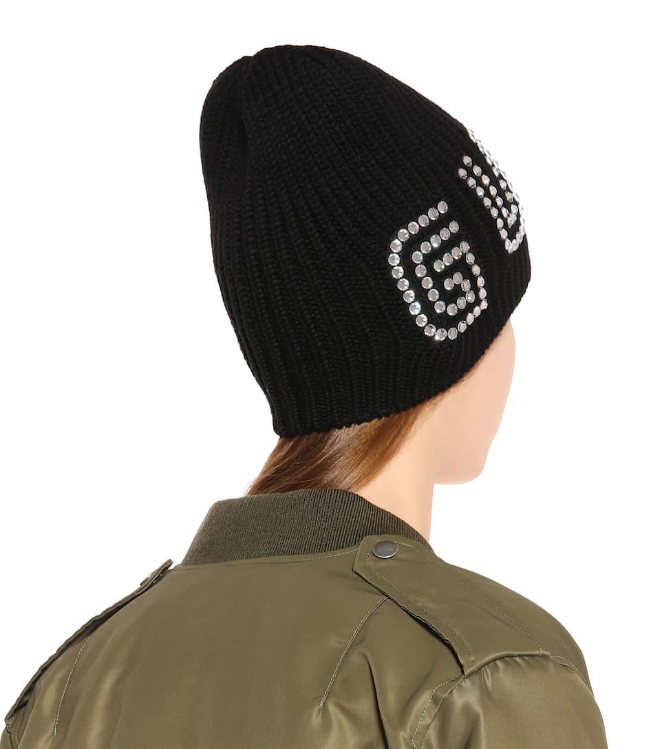 359e8c29b85 Crystal-embellished wool beanie. Gucci