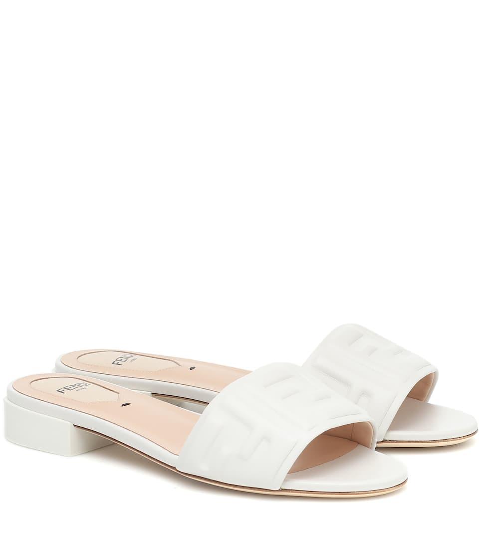 Fendi - FF embossed leather sandals
