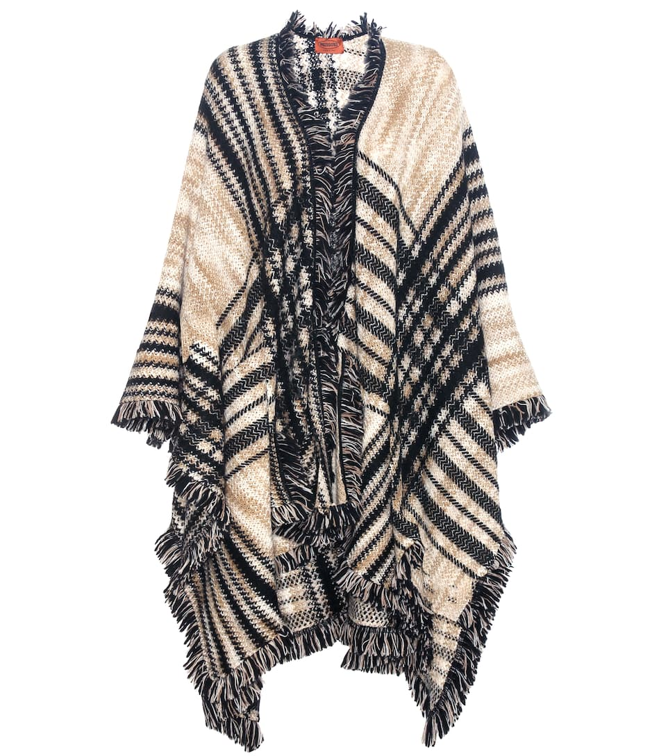 Missoni Check fringed wool and mohair-blend cape