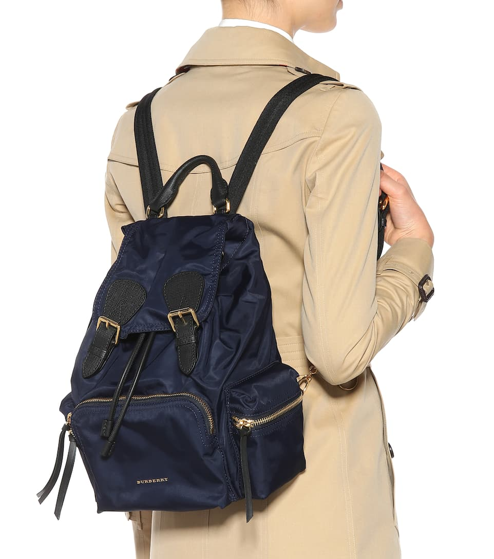 Free Shipping Low Shipping Burberry Leather and fabric Rucksack backpack Ink Blue Hyper Online Clearance Authentic Grey Outlet Store Online ug5Rw