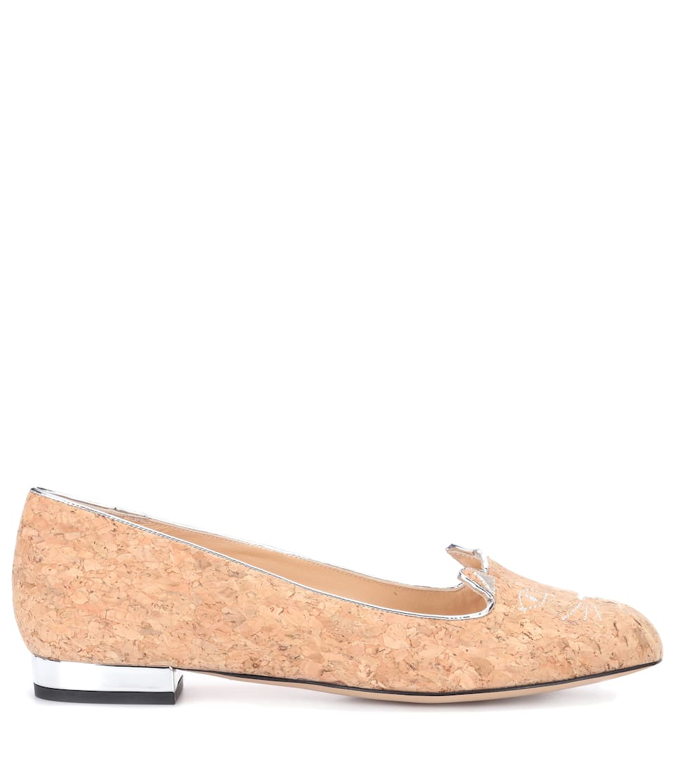 latest collections online Charlotte Olympia Kitty cork loafers sale wholesale price uUvT7j
