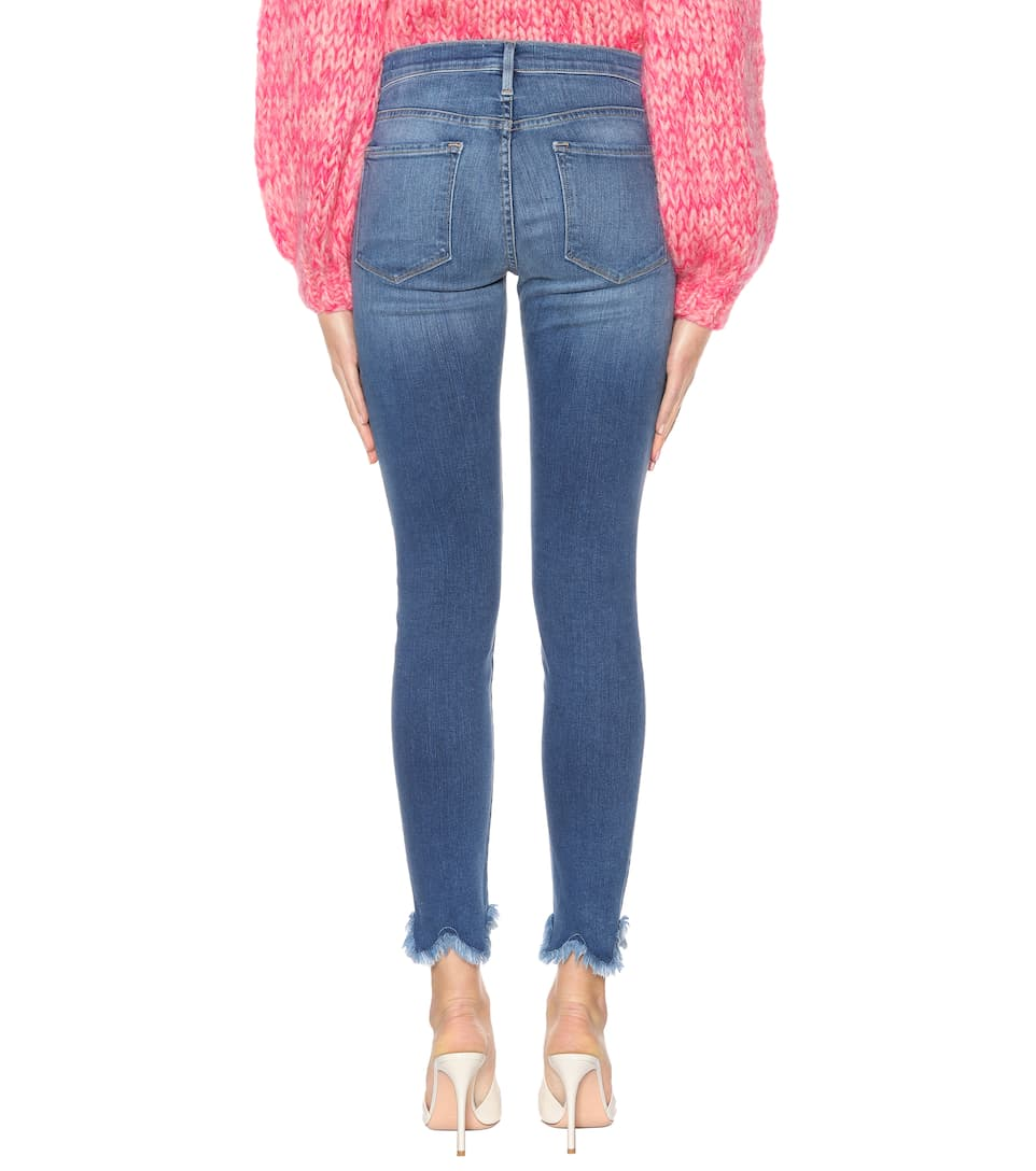 Frame Jeans Le High Skinny Jagged Hem aus Stretch-Denim
