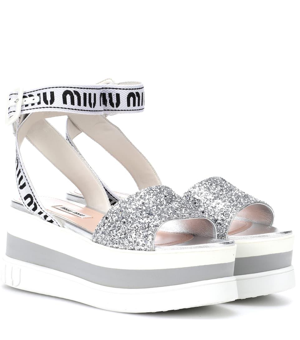 6ee3bd8e389 Sandali Con Glitter - Miu Miu