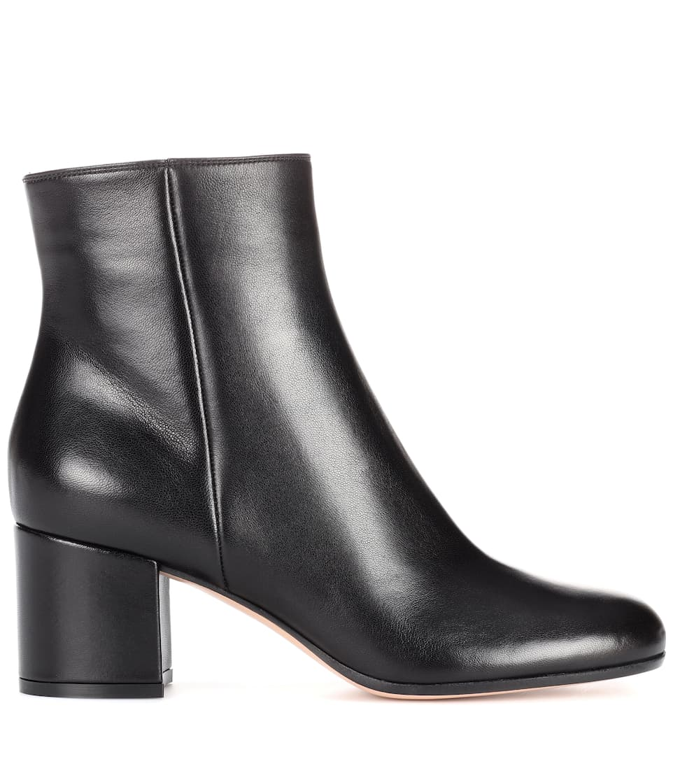 gianvito rossi margaux mid leather ankle boots in llack modesens. Black Bedroom Furniture Sets. Home Design Ideas
